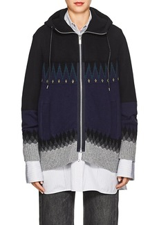 Sacai Women's Fair Isle Cotton-Blend Hooded Sweater