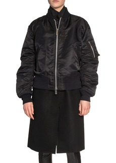 SACAI Wool Coat Layered Bomber Jacket