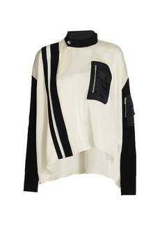 Sacai Satin Highneck Combo Blouse