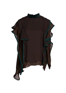 Sacai Satin Highneck Ruffle Pullover Top