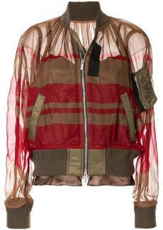 Sacai sheer striped bomber jacket