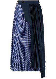 Sacai stripe-print pleated skirt