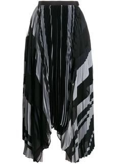 Sacai striped print pleated skirt