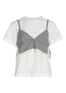 Sacai Suiting Crop Top & T-Shirt Set
