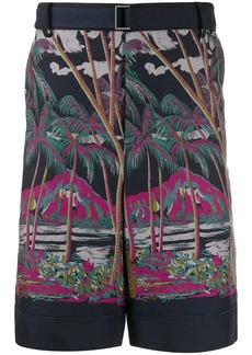 Sacai Sun Surf-print cotton shorts