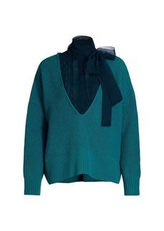 Sacai Tieneck Combo Knit Pullover Sweater