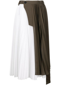Sacai two-tone pleated midi skirt