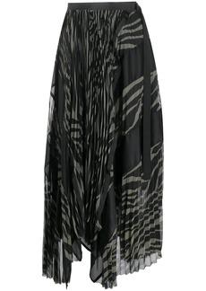 Sacai two tone pleated skirt