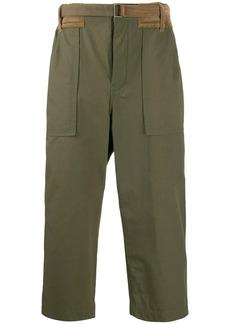 Sacai velvet inserts straight-leg trousers