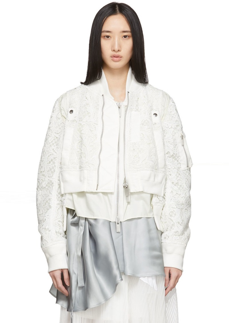Sacai White Embroidered Lace Bomber Jacket