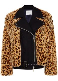 Sacai Wool And Leopard-print Faux Fur Biker Jacket