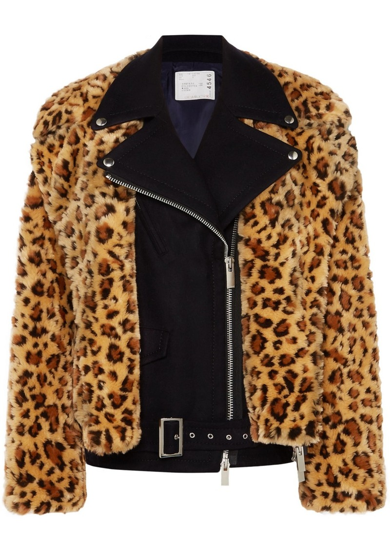 Sacai Wool And Leopard-print Faux Fur Biker Jacket