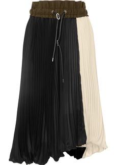 Sacai Wool Felt-trimmed Pleated Two-tone Satin Midi Skirt