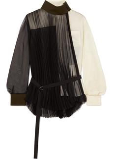 Sacai Wool-trimmed Paneled Pleated Chiffon And Crepe Shirt