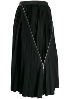 Sacai zip detail pleated skirt