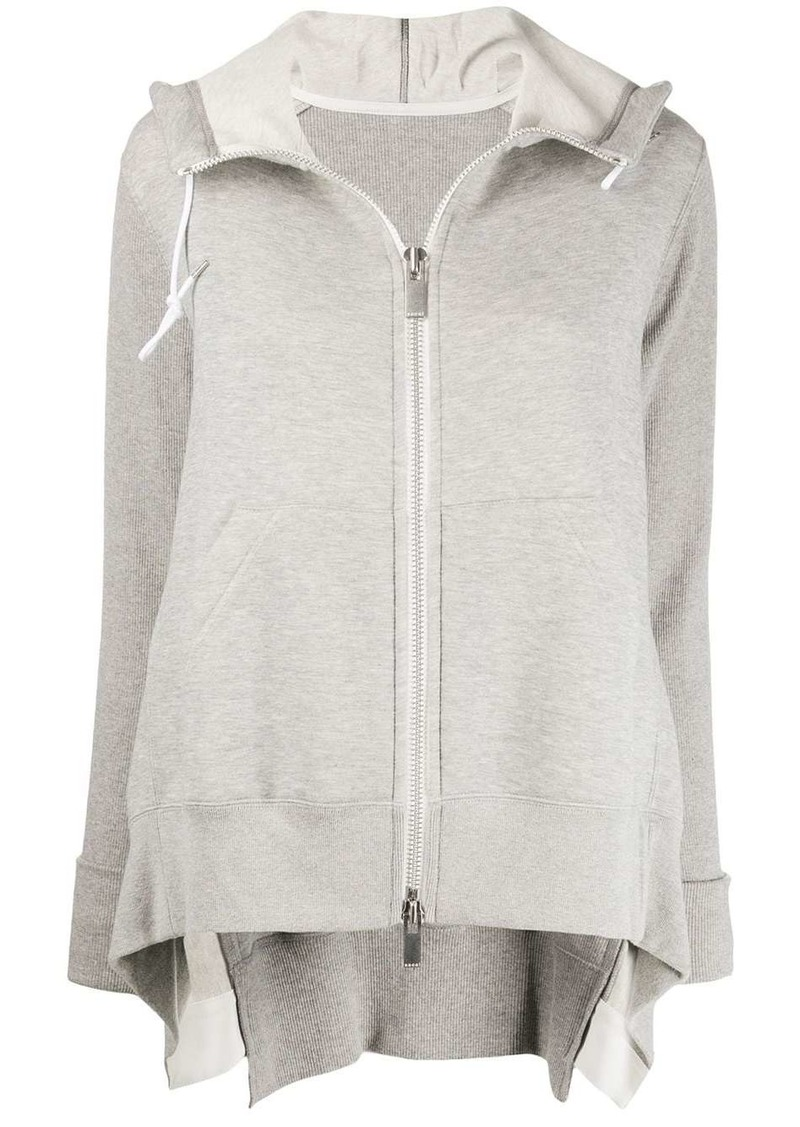 Sacai zip-up draped detail hoodie