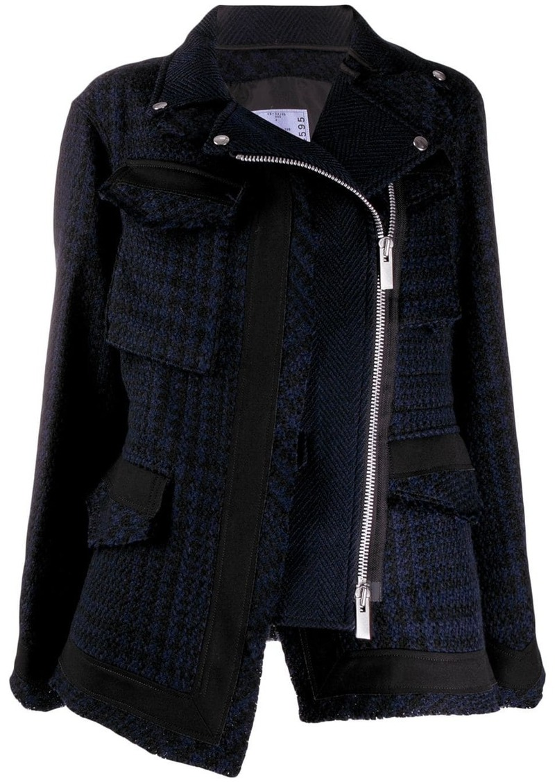 Sacai zipped tweed jacket