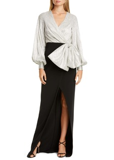 Sachin + Babi Sachin & Babi Embellished Drape Bishop Sleeve Column Gown