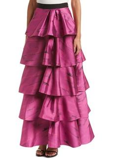 Sachin + Babi Sachin & Babi Noir Ruffle Silk-Blend Skirt