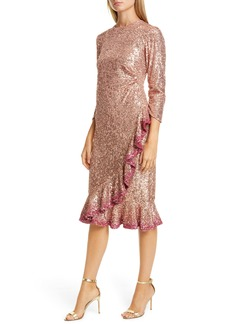 Sachin + Babi Sachin & Babi Ruffle Trim Sequin Dress