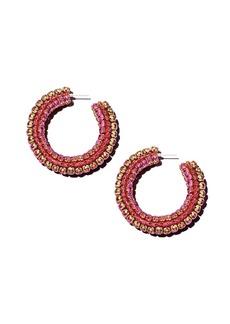 Sachin + Babi Sachin and Babi Silk Georgette & Rhinestone Hoop Earrings