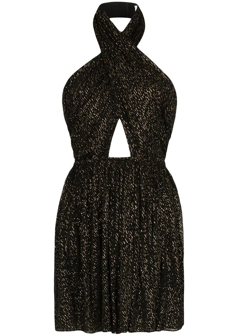 Saint Laurent draped cut-out mini dress