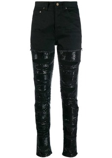 Saint Laurent sequin embellished ripped jeans