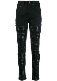 Saint Laurent sequin embellished ripped jeans