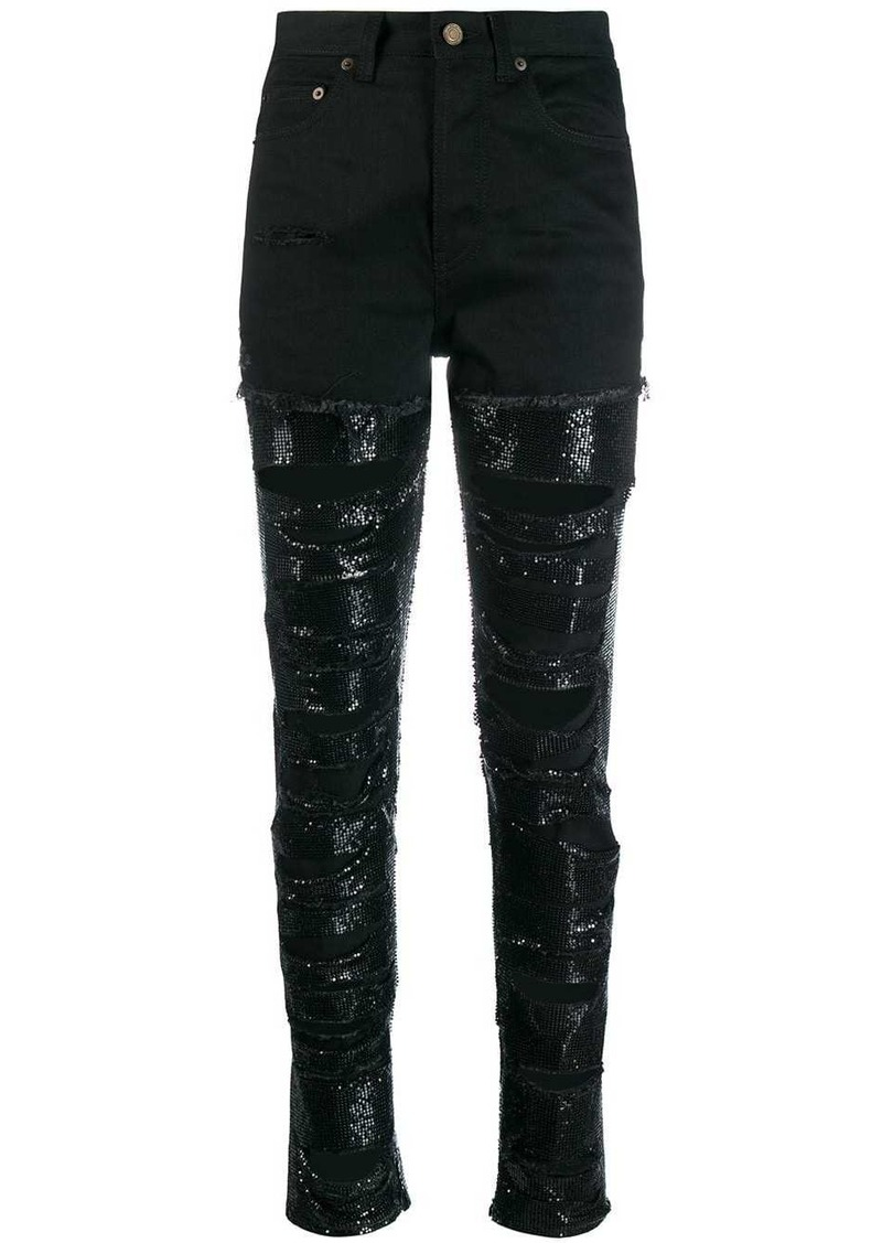 Saint Laurent sequin-embellished ripped jeans