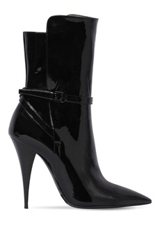 Saint Laurent 110mm Kiki Patent Leather Ankle Boots