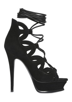 Saint Laurent 140mm Tribute Lace-up Suede Sandals