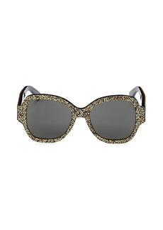 Saint Laurent 53MM Square Glitter Sunglasses