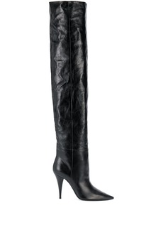 Saint Laurent thigh-high pointed-toe boots