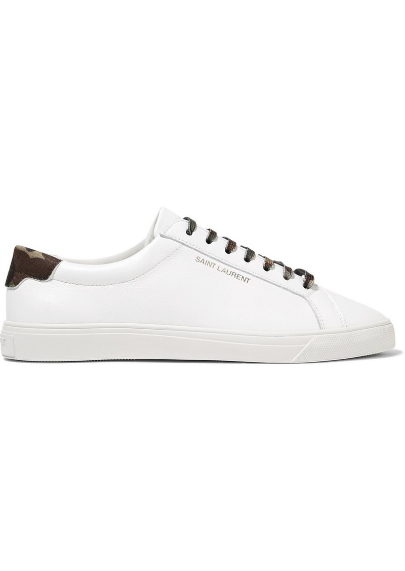 Saint Laurent Andy Twill-trimmed Leather Sneakers