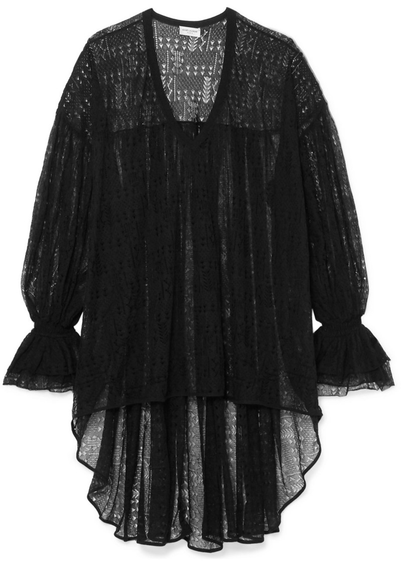 Saint Laurent Asymmetric Lace Top
