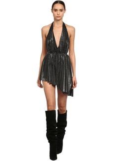 Saint Laurent Asymmetric Lurex Jersey Mini Dress