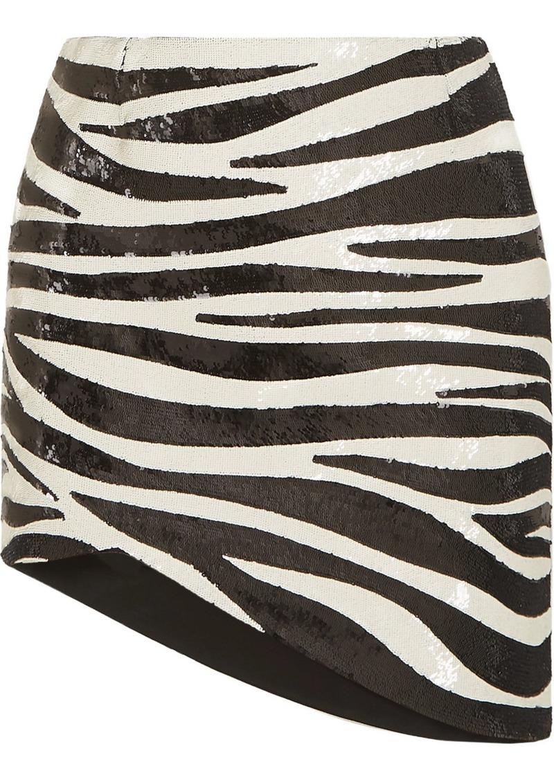 Saint Laurent Asymmetric Zebra-print Sequined Crepe Mini Skirt
