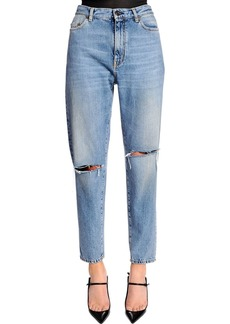 Saint Laurent Baggy Asymmetric Rips Washed Denim Jeans