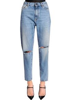 Saint Laurent Baggy Asymmetric Rips Washed Denim Jeans