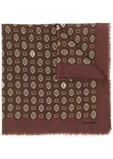 Saint Laurent Monogram vintage-print frayed scarf
