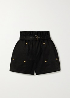 Saint Laurent Belted Cotton And Ramie-blend Twill Shorts