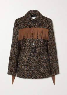 Saint Laurent Belted Fringed Leopard Wool-blend Jacquard Jacket