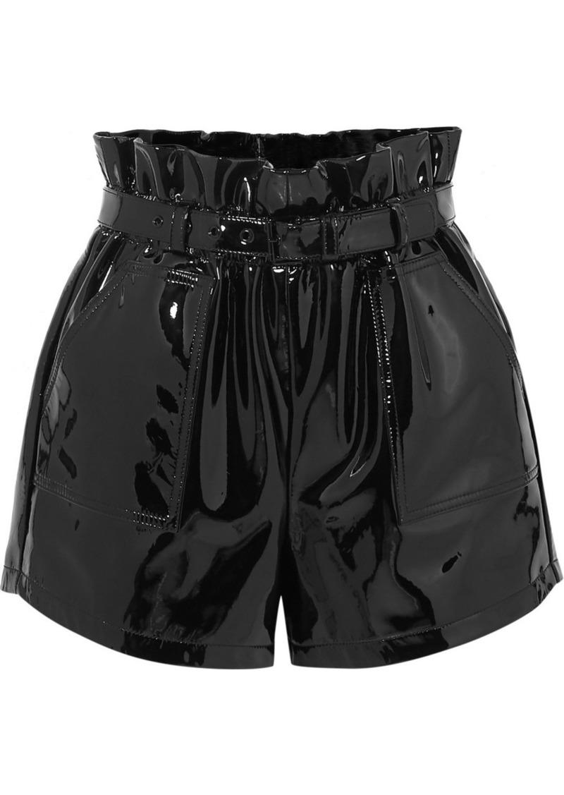 Saint Laurent Belted Patent-leather Shorts