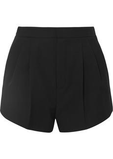 Saint Laurent Belted Pleated Grain De Poudre Wool Shorts
