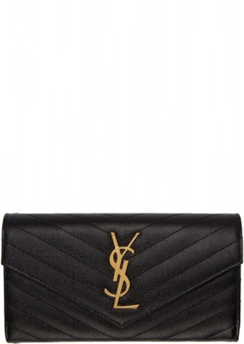 Saint Laurent Black & Gold Large Monogramme Flap Wallet
