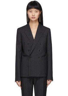 Saint Laurent Black & Silver Lurex Pinstripes Blazer