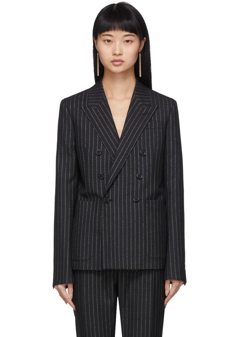Saint Laurent Black & Silver Lurex Pinstripes Blazer