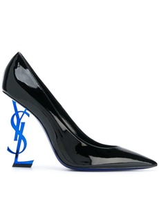Saint Laurent Black Blue Heel Opyum 110 Leather Pumps