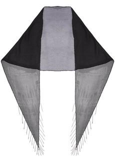 Saint Laurent black chain fringe silk scarf