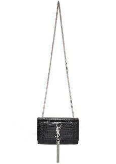 Saint Laurent Black Croc Small Kate Chain Tassel Bag